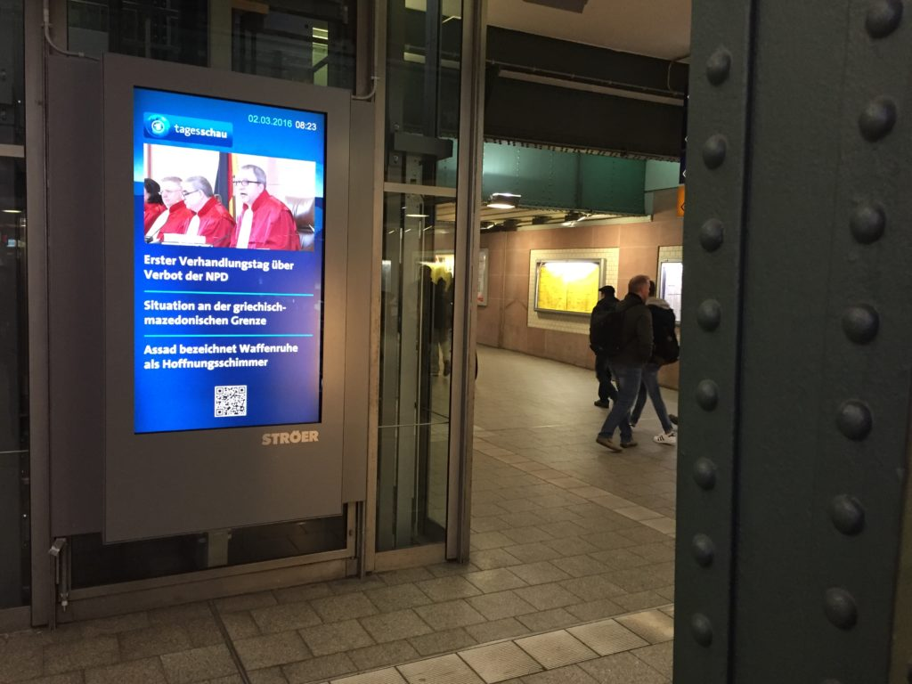 Media Screens in the Karlsruhe Central Train Station Carried News of the Proceedings