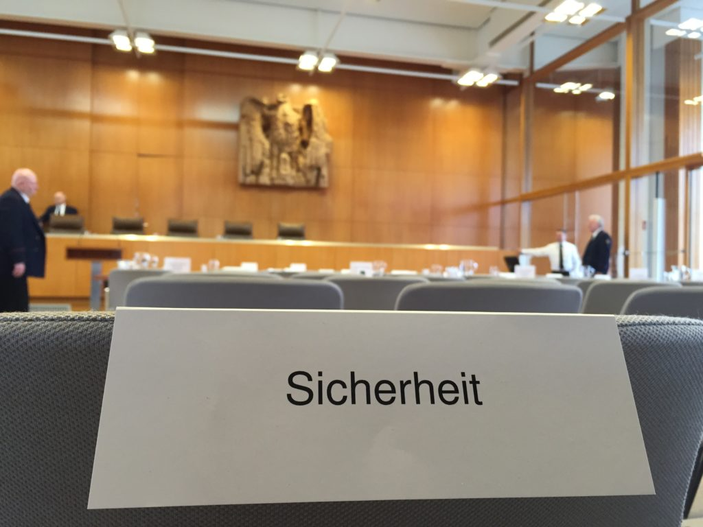 German Constitutional Court's Hearing Chamber Seats Reserved for Security